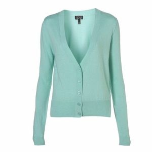 Topshop pastel goth mint green button up Cardigan
